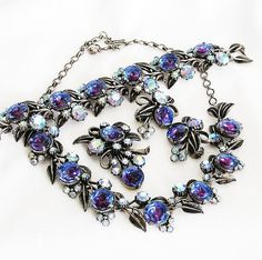 Florenza Blue Watermelon and AB Costume Jewelry Sets, Vintage Costume Jewelry, Vintage Costumes, Vintage Jewelry, Larry, Necklace Set, Florence, Antique Silver, Red And Blue