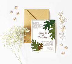 Oak Leaves Wedding Invitation by prettythingsbyQ on Etsy