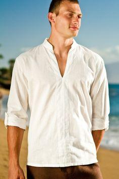 Linen oasis shirt - Asian inspired collar - open neck-line - white - Island Importer