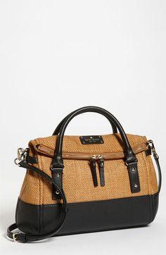 kate spade new york 'small leslie' straw satchel