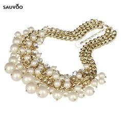 Fashion Imitation Pearl Rhinestone Chain Bib Statement Necklace Choker for Women Wedding Party Engaged Jewelry Collier F10024