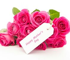 Happy mothers day note hot pink roses