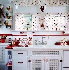 Lovely red and white kitchen