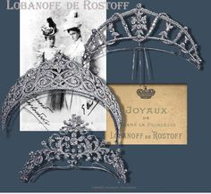 The third image of Princess Vera Lobanoff de Rostov's tiaras include the previous two, plus another diamond scroll tiara. To say she collected jewels was an understatement, the catalogue of her collection alone fetched £1,320 when it sold at Christie's in 2007. Image courtesy of Ursual's fabulous Royal Magazin site.