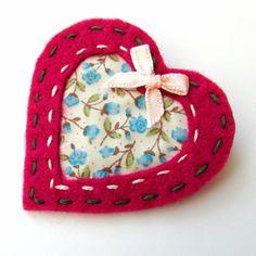 Cut Out Heart Brooch or Bag Charm - Felt - Pink - Folksy | Craft Juice