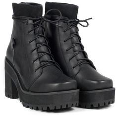 REVERB BOOT (540 BRL) ❤ liked on Polyvore featuring shoes, boots, ankle booties, heels, black, mid heel booties, leather boots, black military boots, black army boots and black ankle booties