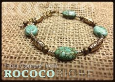 Take this simple bracelet featuring howlite stones and antique brass to all four corners of the world! Simple enough for guys and casual for ladies. Howlite Stone Bracelet with Antique Brass Round by RococoRiche, handmade jewelry available on Etsy!