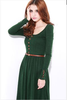 Vintage Long-sleeved Green Dress