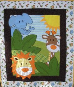 Your place to buy and sell all things handmade Baby Quilt Panels, Panel Quilts, Baby Boy Quilt Patterns, Baby Boy Quilts, Hand Applique, Applique Quilts, Quilting Projects, Quilting Designs, Colchas Quilt