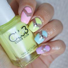 Pastel Multicolor Negative Space Nails.