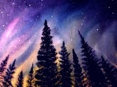 aurora  boreale  olio  su  tela  30x40  cristina  de  biasio