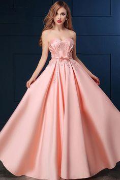 Charming Satin Sweetheart Neckline A-line Floor-length Prom Dresses