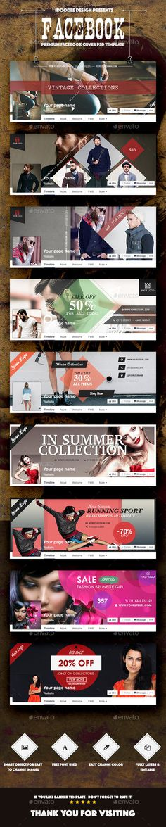 Bundle Fashion Facebook Covers Template PSD #design Download: http://graphicriver.net/item/bundle-fashion-facebook-covers-/13359712?ref=ksioks