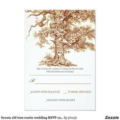 brown old tree rustic wedding RSVP cards