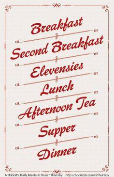 A Hobbit's Daily Meals © Stuart THURSBY (Designer, Artist) via Society 6. Prints available at link.