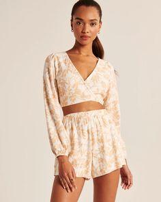 Women's Long-Sleeve Linen-Blend Wrap Top | Women's New Arrivals | Abercrombie.com