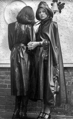 Vintage Black Rubber Raincoat & Black Rubber Cape