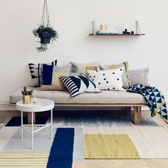 This inviting Kelim Squares Rug was designed for the Danish design brand ferm LIVING.Copenhagen-based ferm LIVING was formed by Trine Andersen in 2005 initially Living Pequeños, Home Living Room, Living Room Decor, Living Spaces, Modern Living, Small Living, Minimalist Living, Firm Living, Nordic Living