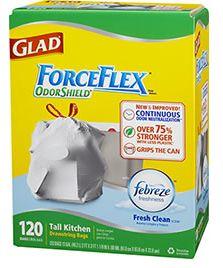 FREE Sample of Glad ForceFlex OdorShield Tall Kitchen Drawstring Bags for Sam's Club Members