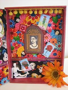 Altered cigar box shrine for Dia de los Muertos    ... Have I mentioned yet that I love shrines?
