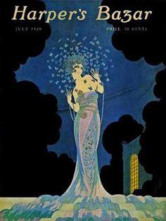 Harper's Bazar (July by Erté Fashion Illustration Vintage, Magazine Illustration, Art Vintage, Vintage Posters, Vintage Vogue, Vintage Fashion, Vintage Book Covers, Vintage Magazines, Erte Art