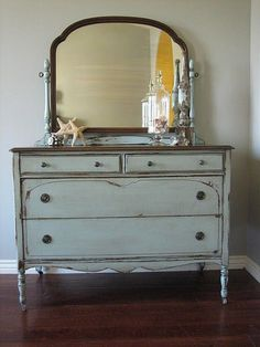 European Paint Finishes: Blue Gray Mirrored Dresser ~