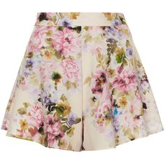 **Floral High-Waisted Shorts by Oh My Love ($40) ❤ liked on Polyvore featuring shorts, skirts, bottoms, pink, flower print shorts, floral print shorts, floral high waisted shorts, floral two piece and zipper shorts