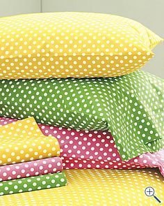Shop for patterned sheets at Garnet Hill in dots, stripes and prints. Patterned sheets and printed sheets in percale, jersey and flannel in original designs. Polka Dot Bedding, Mellow Yellow, Rainbow Colors, Shabby Chic, Polka Dots, Throw Pillows, Pattern, Design, Home Decor