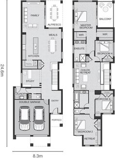 floor plan: 4 bdrms, could add elevator in study area, use rest of space for lndry & powder room, put closet nearer to entry area, add alfresco space to living area, good for long narrow lot