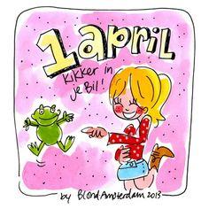 1 april, kikker in je bil - Blond Amsterdam Blond Amsterdam, Kat Van D, April Fools Day, Moleskine, Cute Stickers, Picture Quotes, Holland, Doodles, Clip Art