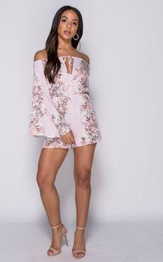 This sexy light pink floral print Bardot playsuit makes you feel like the most stylish girl! Off The Shoulder Playsuit, White Denim, Stylish Girl, Floral Prints, Mini Skirts, Bardot, Rompers, Sexy, Casual