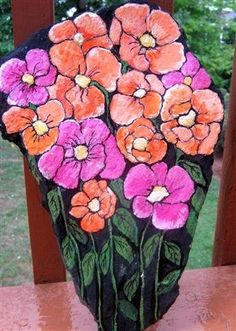Poppies Hand-Painted Garden Rock