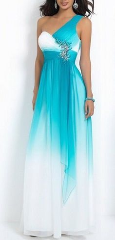 One Shoulder Gradient Blue Prom Dress: