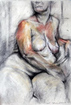 Mixed Media drawing example from live model