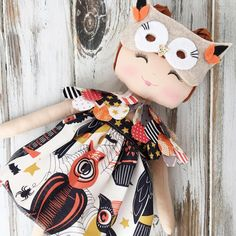 Halloween owl by SpunCandy  #halloweendoll #spuncandydolls #spuncandyhalloweencollection #clothdoll