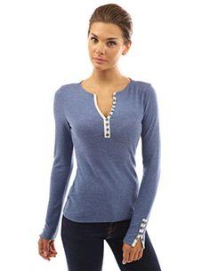 PattyBoutik Women's Notch Neck Buttons Trim Top (Heather Blue L)