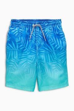 Buy Blue Ombre Leaf Print Swim Shorts from the Next UK online shop Boxer Pants, Boys Swim Shorts, Boys Swimwear, Stylish Boys, Monokini Swimsuits, Sport Outfits, Promotion, Blue Ombre, Shirt Print