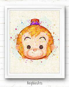 Disney Prints, Aladdin Abu Print, Tsum Tsum, Watercolor Painting, Baby Nursery Decor, Kids Decor, Ho Disney Drawings, Cute Drawings, Disney Love, Disney Stuff, Pinturas Disney, Tsumtsum, Disney Fanatic, Printing On Burlap, Disney Tsum Tsum
