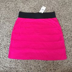 """Express Tiered Hot Pink Mini Skirt Size XXS Express Tiered Hot Pink Mini Skirt Size XXS.  Cotton/Modal.  Tags attached, never worn.  Silver exposed zipper on back.  Measurements (flat): 12.5"""" waist (elastic), 16"""" hips, 15"""" length.  Very soft! Express Skirts Mini"""