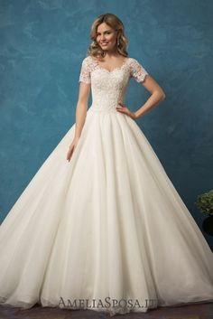 Amelia Sposa Short Sleeves A-line Wedding Dresses Alyssa / http://www.deerpearlflowers.com/amelia-sposa-2017-wedding-dresses/