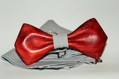 Handmade bow tie from red wood. New 2016 trend form covered with natural oil.  Wooden bow tie + handkerchief + gift box. Eco gift for him. by woodton on Etsy