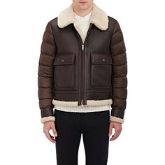 Moncler Aviator Bomber Jacket (104.355 CZK) ❤ liked on Polyvore featuring outerwear, jackets, brown, mens leather bomber jacket, mens quilted bomber jacket, mens leather jackets, mens quilted jacket and mens zip up jackets