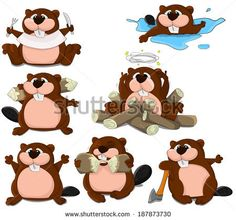 Set of cartoon vector beavers