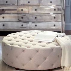 Gorgeous circle ottoman for my closet room :)