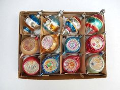vintage Christmas ornaments lot of 12 glass with by pennsvintage