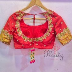 Code : Pink color designer blouse with floret lata design hand embroidery thread and kundhan work. Blouse Back Neck Designs, Hand Work Blouse Design, Simple Blouse Designs, Wedding Saree Blouse Designs, Pattu Saree Blouse Designs, Blouse Designs Silk, Zardosi Work Blouse, Wedding Sarees, Blouse Patterns