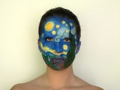 Art Fancy Dress Costume for Parties & Halloween: Van Gogh Artist - Starry Night Painting Facepaint Face Paint Makeup, Makeup Art, Vincent Van Gogh, Van Gogh Pinturas, Starry Night Art, Festival Makeup Glitter, High Fashion Makeup, Night Makeup, Fantasy Makeup