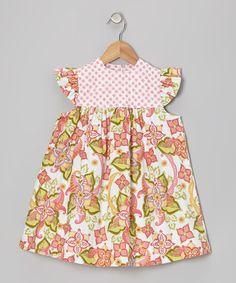 Take a look at this Pink Floral Angel-Sleeve Dress - Infant & Toddler by Muchilunga on #zulily today!