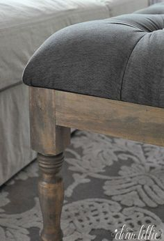 Dear Lillie: Making a Tufted Ottoman for the Family Room STAIN: Rustoleum Weathered Grey & Minwax's Provincial Paint Furniture, Furniture Projects, Furniture Makeover, Furniture Refinishing, Shabby Chic Interiors, Shabby Chic Decor, Weathered Grey Stain, Gray Stain, Shopping