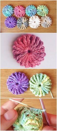 Crochet Bow Pattern, Crochet Puff Flower, Crochet Geek, Crochet Flower Patterns, Crochet Crafts, Crochet Flowers, Free Crochet, Corset Pattern, Tutorial Crochet